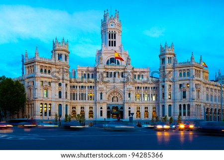 Evening traffic on Plaza de Cibeles in Madrid - stock photo