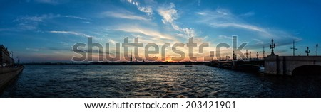 Evening view and the sunset in St. Petersburg, Russia. - stock photo