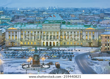 Evening view from the colonnade of the Saint Isaac's  Cathedral. St.-Petersburg, Russia - stock photo