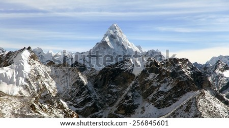Evening view of Ama Dablam on the way to Everest Base Camp - Nepal - stock photo