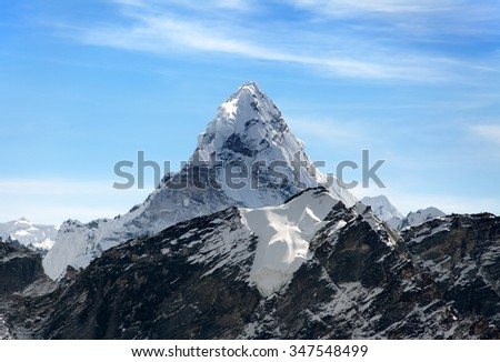 Evening view of Ama Dablam on the way to Everest Base Camp, Sagarmatha national park, Khumbu valley, Nepal - stock photo