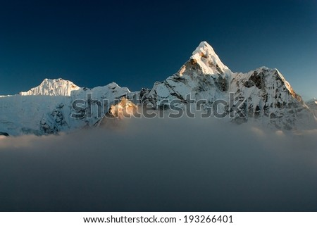 Evening view of Ama Dablam - Way to Everest Base Camp - Nepal - stock photo