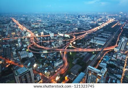 Evening view of Bangkok from the bird's flight - stock photo