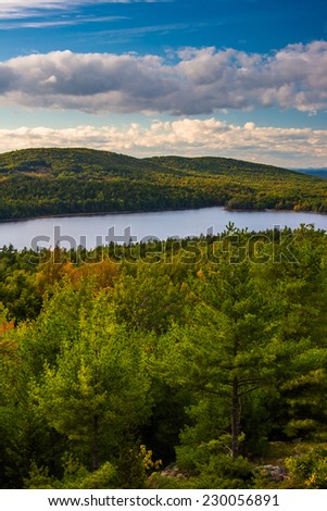 Evening view of Eagle Lake from the road to Caddilac Mountain in Acadia National Park, Maine. - stock photo