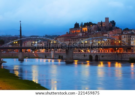 Evening view of Ebro  with bridge and Suda Castle in Tortosa.  Spain