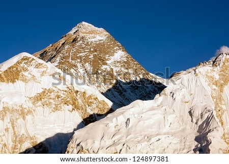 evening view of Everest from Kala Patthar - trek to Everest base camp - Nepal - stock photo
