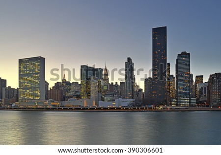 Evening view of Manhattan from the Roosevelt Island.
