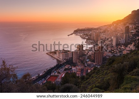Evening view of Montecarlo, Monaco, Cote d'Azur, Europe - stock photo