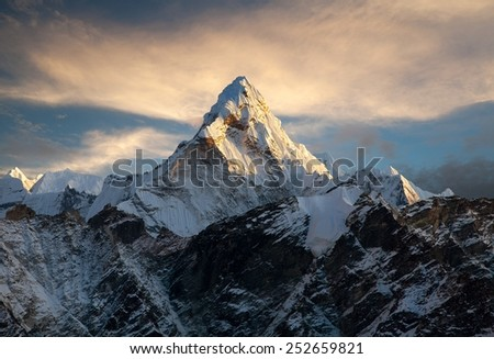Evening view of mount Ama Dablam on the way to Everest Base Camp - Nepal - stock photo