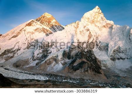 Evening view of Mount Everest from Kala Patthar - way to Everest base camp - sagarmatha national park - Nepal  - stock photo
