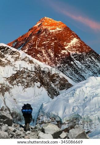 Evening view of Mount Everest with beautiful sky, tourist and Khumbu Glacier from Kala Patthar - Khumbu valley, Sagarmatha national park, Nepal  - stock photo