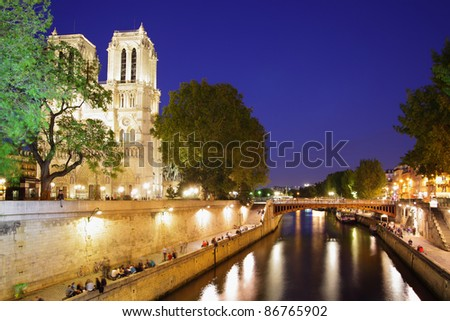 Evening view of Paris, France - stock photo