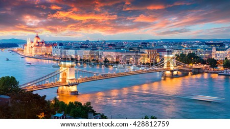 Evening view of Parliament and Chain Bridge in Pest city. Colorful sanset in Budapest, Hungary, Europe. Artistic style post processed photo.