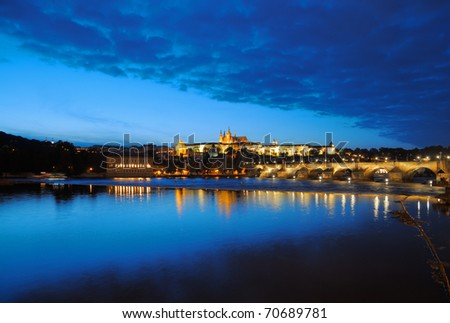 Evening view of Prague Castle and Charles Bridge over Vltava river from Novotneho Lavka, Prague, Czech