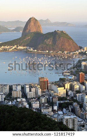 Evening view of Rio de Janeiro's famous landmark Sugarloaf - stock photo