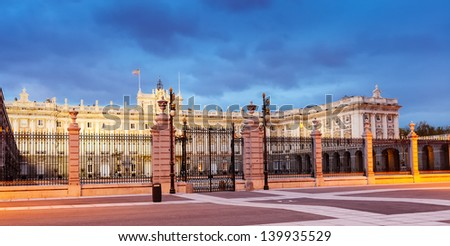 Evening view of Royal Palace. Madrid