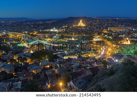 Evening view of Tbilisi from Narikala Fortress, Georgia - stock photo