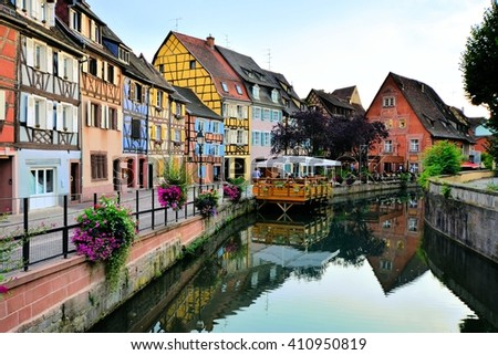 Evening view of the beautiful canals of Colmar, Alsace, France - stock photo