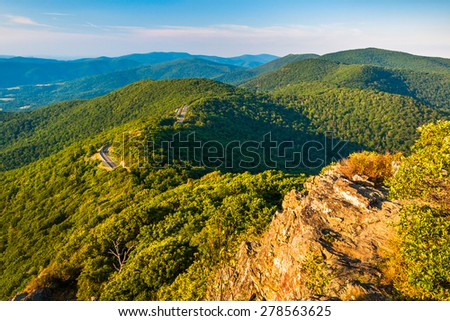 Evening view of the Blue Ridge Mountains from Little Stony Man Cliffs in Shenandoah National Park, Virginia. - stock photo