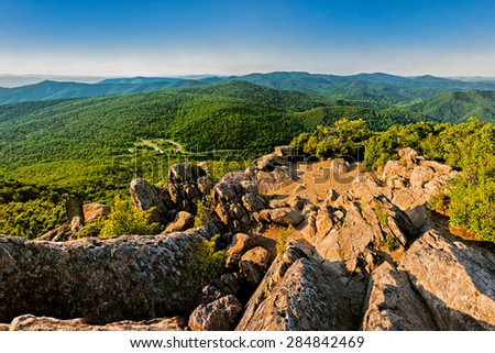 Evening view of the Blue Ridge Mountains from Mary's Rock, along the Appalachian Trail in Shenandoah National Park, Virginia. - stock photo