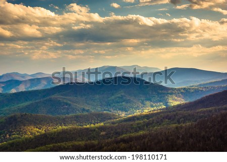 Evening view of the Blue Ridge Mountains from Skyline Drive in Shenandoah National Park, Virginia. - stock photo