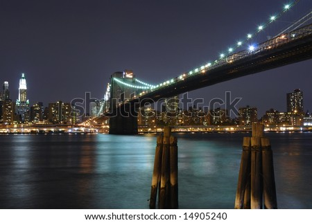 Evening view of the Brooklyn Bridge with Waterfall under.