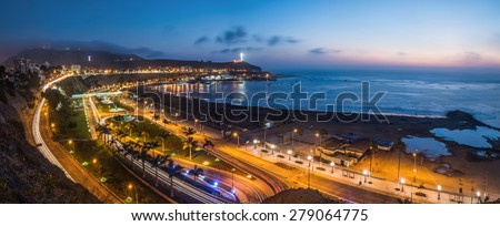 Evening view of the Chorrillos Bay in Lima, Peru. - stock photo