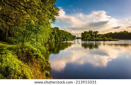 Evening view of the Delaware River at Delaware Water Gap National Recreational Area, New Jersey. - stock photo