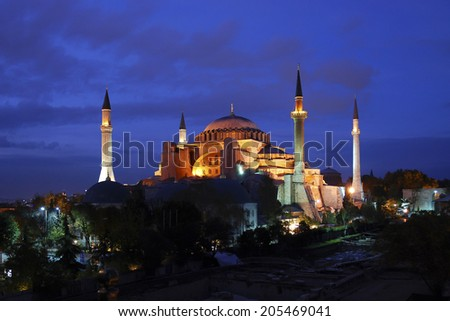 Evening view of the Hagia Sophia in Istanbul, Turkey