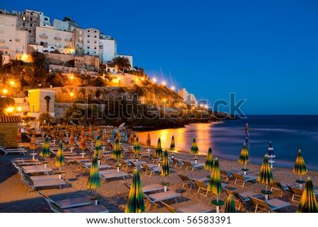 Evening view of the Italian city of Sperlonga - stock photo