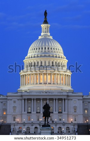 Evening view of the United States Capitol building dome.