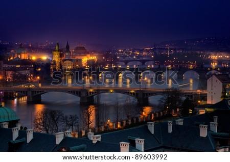 Evening View of The Vltava River and Bridges in  Prague , Czech republic - stock photo
