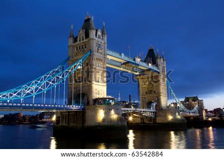 Evening view of Tower Bridge, London, UK - stock photo