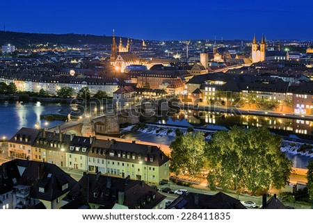 Evening view of Wurzburg from Marienberg Fortress, Germany - stock photo
