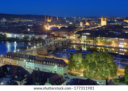 Evening view of Wurzburg, Germany - stock photo