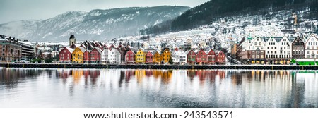 Evening view on Bruges. Bergen. Norway - stock photo