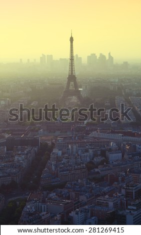 Evening view on Eiffel tower in Paris, France