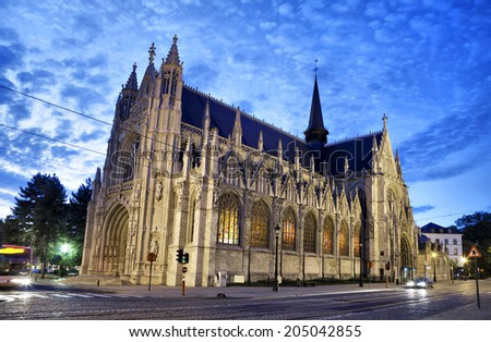 Evening view on Notre Dame du Sablon's Cathedral in Brussels - stock photo