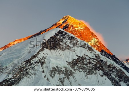 Evening view on top of Mount Everest, from mount Pumo Ri base camp - Sagarmatha national park, Khumbu valley, Nepal