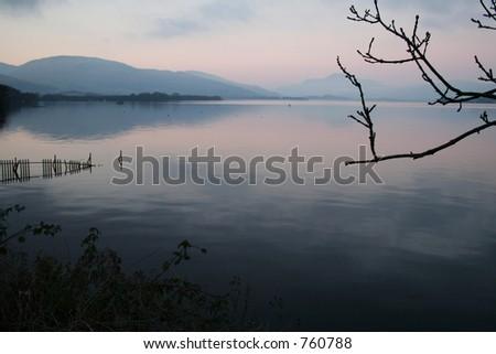 Evening view over Loch Lomond in Scotland - stock photo