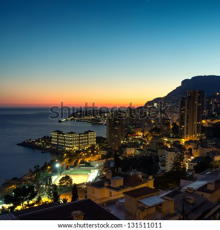 Evening view over Monte Carlo, Monaco, Cote d'Azur, Mediterranean, Europe - stock photo