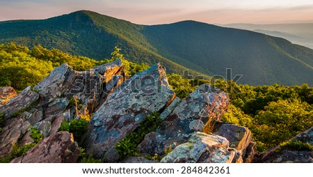 Evening view toward Hawksbill Summit from Betty's Rock, along the Appalachian Trail in Shenandoah National Park, Virginia. - stock photo