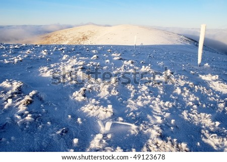 evening wintry view from great fatra mountains - slovak republic - stock photo