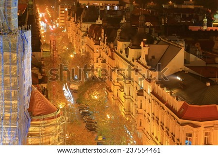 Evening with beautiful facades on the streets of Prague Old Town, Czech Republic - stock photo