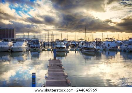 evening yacht harbor , marine of Algarve, Portugal - stock photo