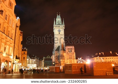 Evenings  Staromestske Square in Prague for New year with Christmas fair - stock photo