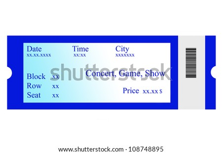 Event ticket, isolated, made with Photoshop. - stock photo