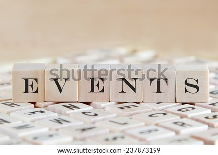 events word background on wood blocks - stock photo