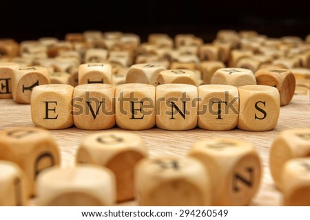 EVENTS word written on wood block - stock photo