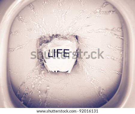 ever felt like throwing your life into the toilet? - stock photo